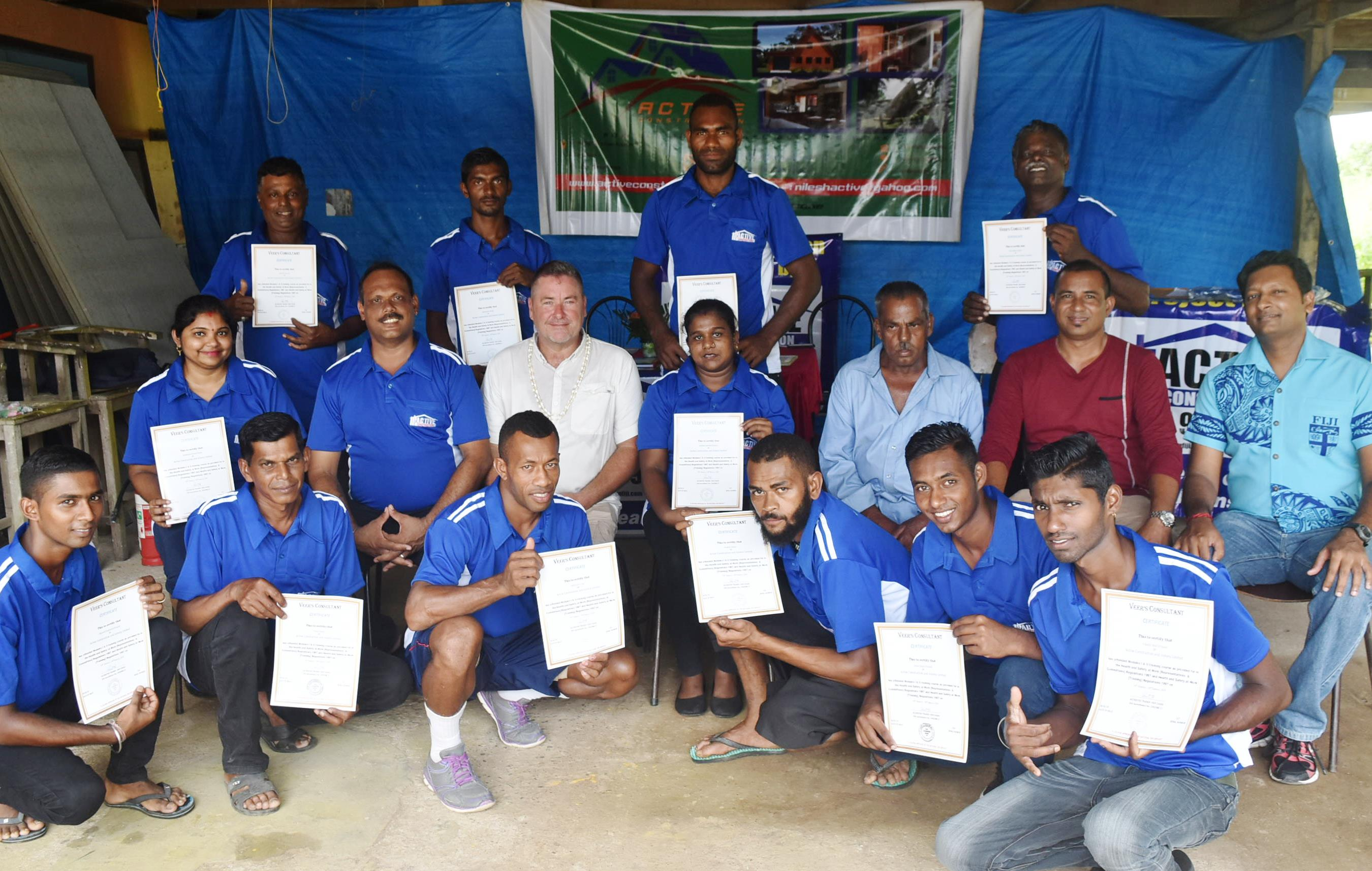 Active Construction continues to strive towards being a leading employer in Fiji within the construction industry. Amongst the many training programs carried out the picture above shows twelve employees that have just attended a 3 day workshop in Operational Health and Safety. The workshop was carried out by Mr Veer Chand of Veers Consultancy shown here together with the management of Active Construction and local businessman Mark Spurling who attended as Chief Guest.